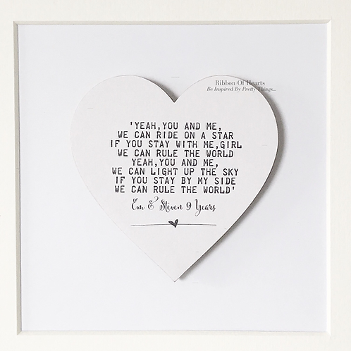 Framed Song Lyric Wooden Hearts