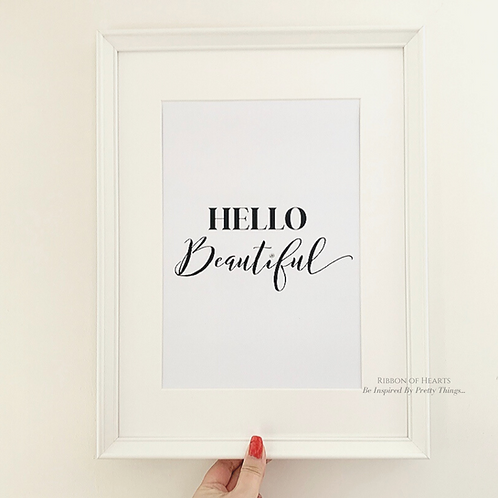Hello Beautiful A4 Print with Diamante Detail