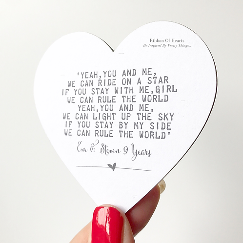 Song Lyric Wooden Hanging/Magnet Hearts