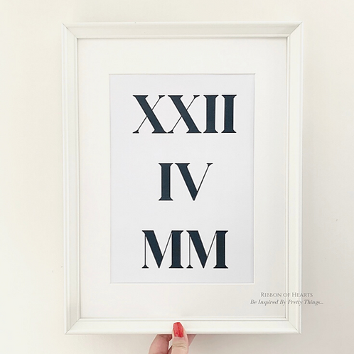 Roman Numerals Personalised  - A4 Print