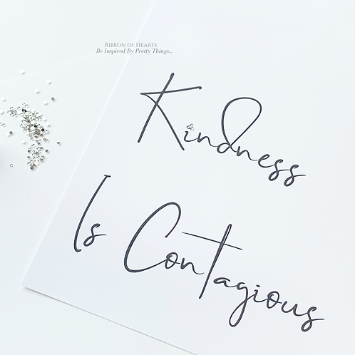 Kindness Is Contagious A4 Print with Diamante Detail