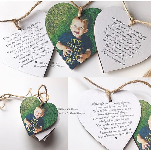 Personalised/Photo Wooden Heart Bunting - Set of 3