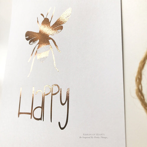 Bee Happy Wall Print A4, Black or Rose Gold Foil Print