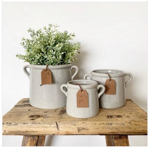 For You Grey Ceramic Pot 8cm