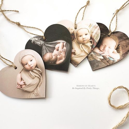 Wooden Hanging Photo Hearts