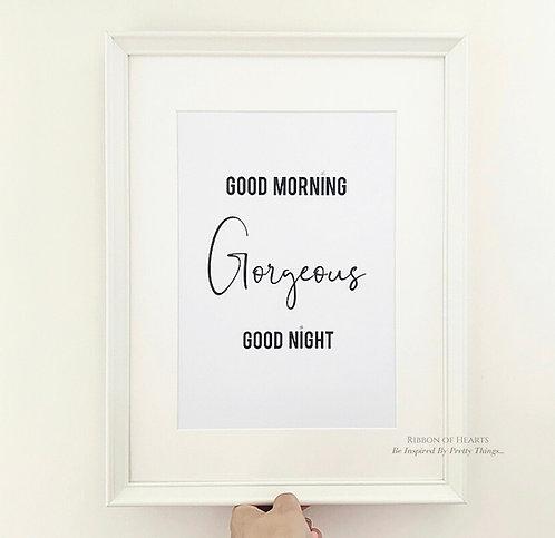 Good Morning Gorgeous A4 Print with Diamante Detail