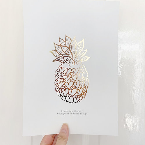 Pineapple Hearts Rose Gold Foil A4 Print