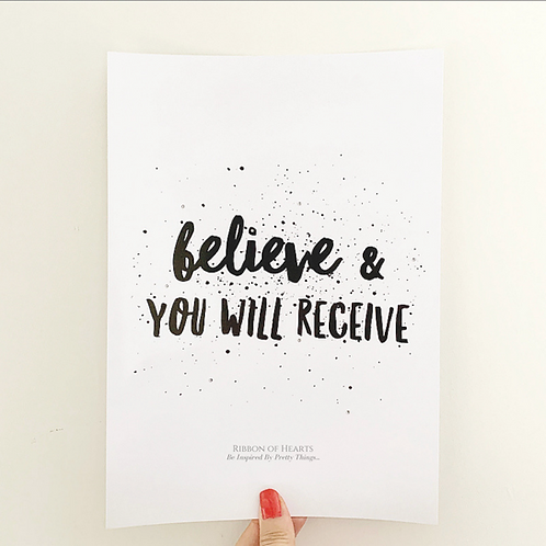 Believe A4 Print with Diamante Detail