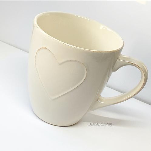 Cream Embossed Mug - Large
