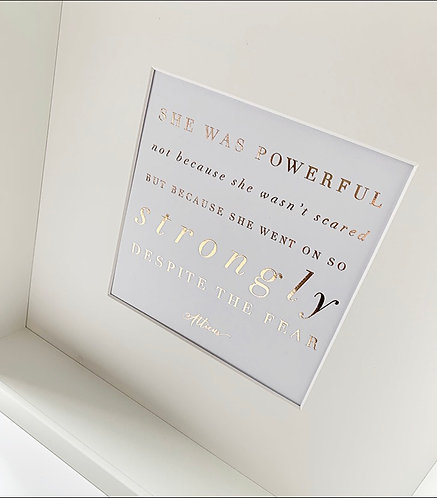 She Was Powerful Framed Quote in Rose Gold Foil