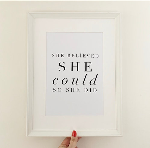 She Believed She Could A4 Print with Diamante Detail