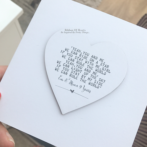 Song Lyric Wooden Heart Card with Magnet