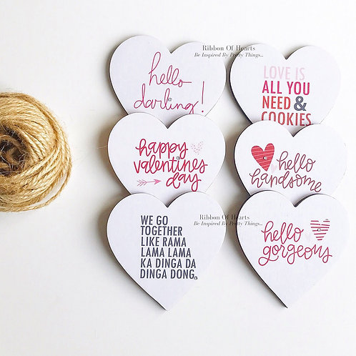Valentines Wooden Heart Magnets individual or in sets