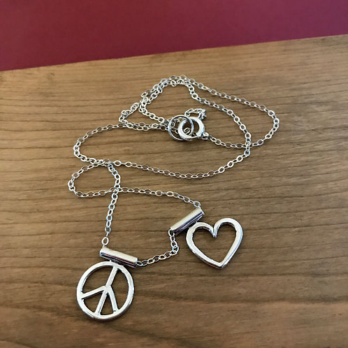 Peace and Love Necklace: Sterling Silver Handcrafted Charms Peace Sign and Heart
