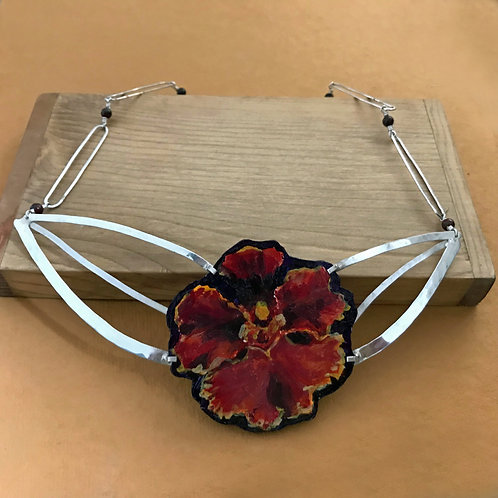Orchid Flower Painting Handcrafted Sterling Bib-Style Statement Artwear Necklace
