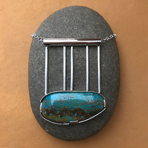 Turquoise Graph Necklace: Stone and Sterling Silver Modern Statement Pendant