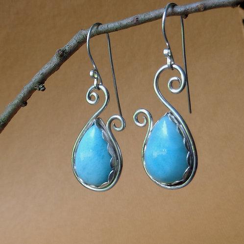 Larimar Peacock Earrings