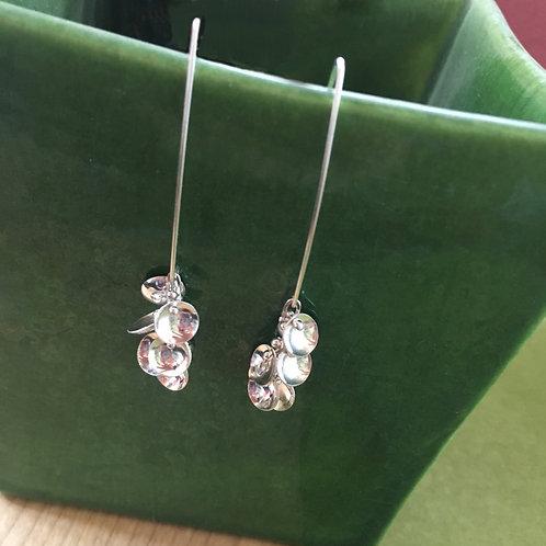 Riveted Domed Sterling Silver Dangle Earrings