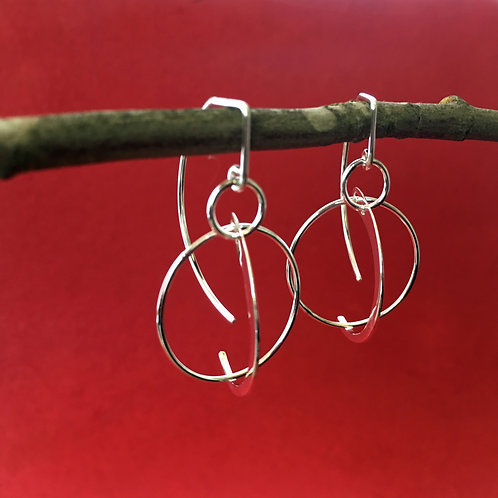Arcly Sterling Silver Arc and Circle Dangle Artwear Earrings