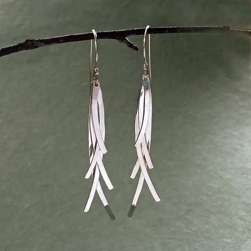 Gestures: Sterling Silver Curved Modern Long Five Fingered Dangle Earrings