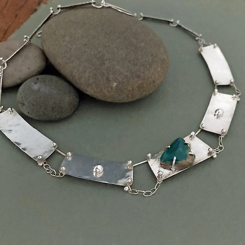 Peruvian Blue Opal and Sterling Silver Handcrafted Statement Collar Necklace