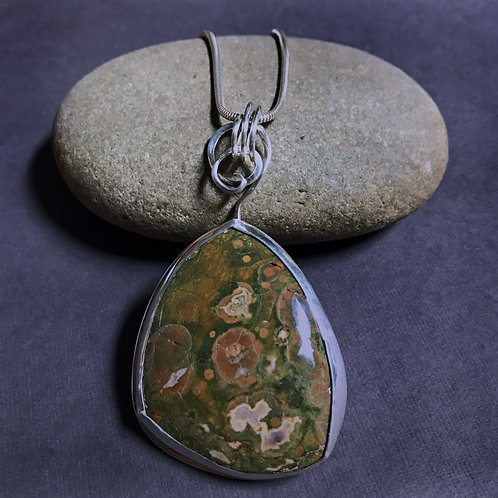 Rainforest Jasper and Sterling Silver Large Statement Pendant Necklace