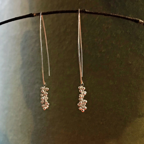Sterling Silver Riveted Chain Dotted Drop Earrings
