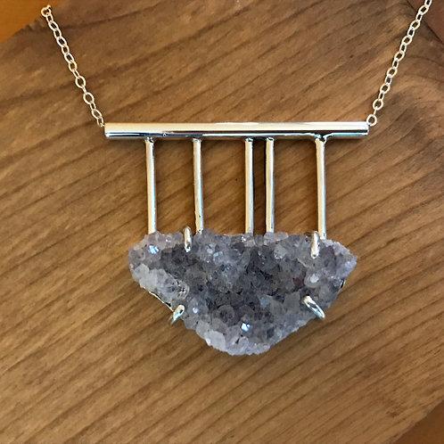 Amethyst Druzy Graph Necklace: Stone & Sterling Silver Modern Statement Pendant