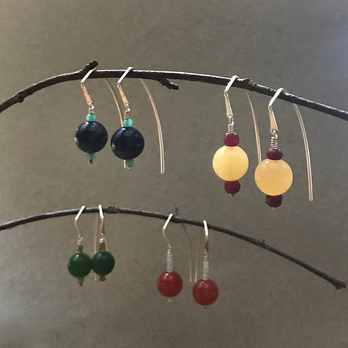 Spot Color Gem Stone and Sterling Beaded Arc Earwire Dangle Earrings