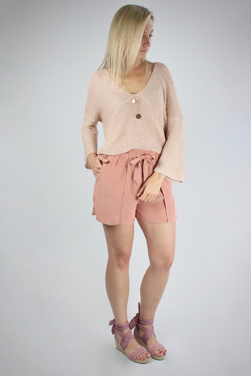 High-Waist Shorts mit Gürtel