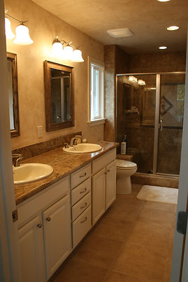 2 sink Bath with heated floors and Venetian Plaster walls