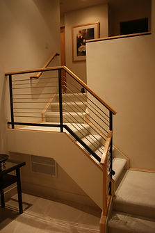 Steel with Maple and Ziricote wood handrail