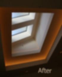 Decorative skylight over dining area