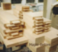 Maple door parts being made at the job site