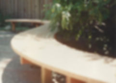 Redwood curved bench