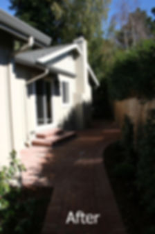 New sideyard with flowing brick walkway