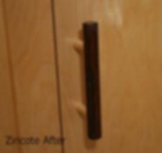 Finished Zirikote closet door handles on our site built Maple Doors