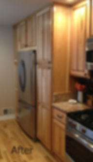 New cabinets seamlesly tied in and pantry removed