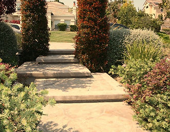 Meandering inlayed concrete steps