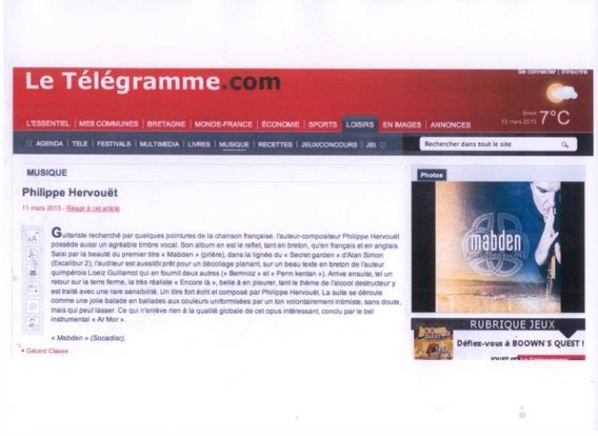 Le Télégramme Philippe Hervouët