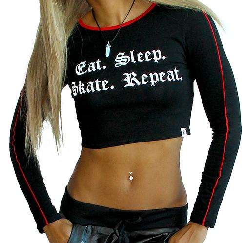 """""""Eat. Sleep. Skate. Repeat."""" Crop Top"""