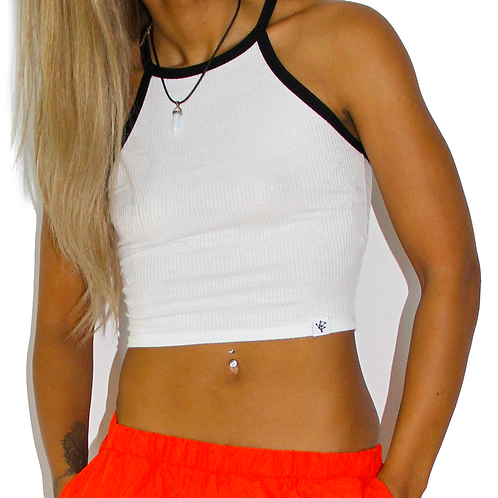 """White """"Complicated"""" Crop Top"""
