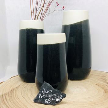 Trio de vases porcelaine