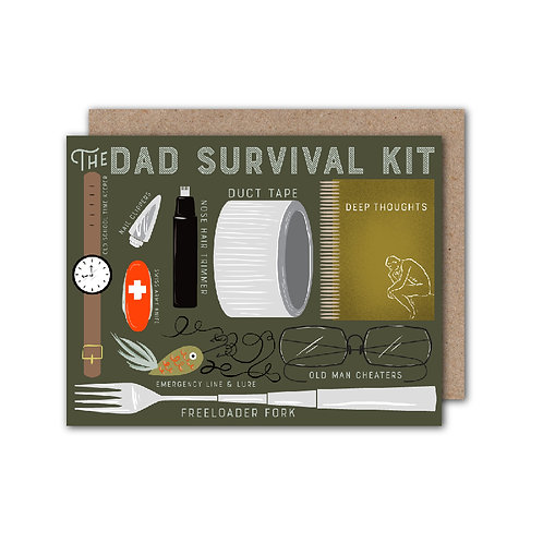 The Dad Survival Kit - Father's Day Card | Dad Birthday Card - Set of 6