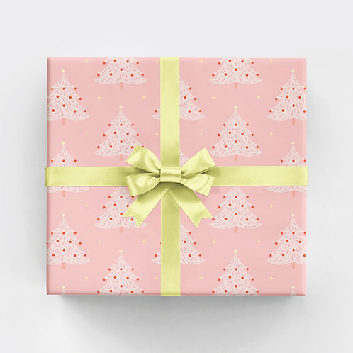 Pink Christmas Tree Gift Wrap