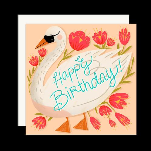 Happy Birthday Swan Card - Set of 6
