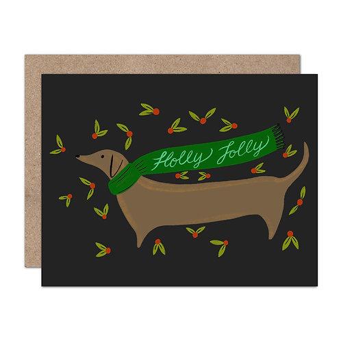 Holly Jolly Dachshund Holiday Card