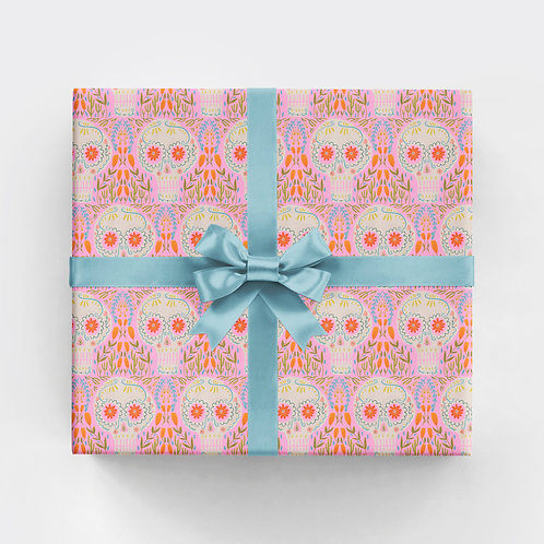 Botanical Skulls - Pink Gift Wrap