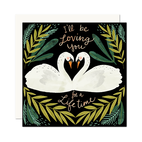 I'll Be Loving You For A Lifetime Swan Card | Romance | Anniversary - Set of 6