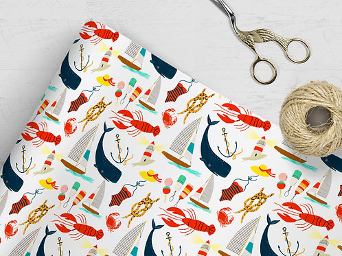 Nautical Lobster & Whale Gift Wrap